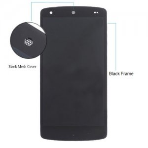 Screen Replacement with Frame for LG Nexus 5 D820 D821 Black [Black Mesh Cover,Original]